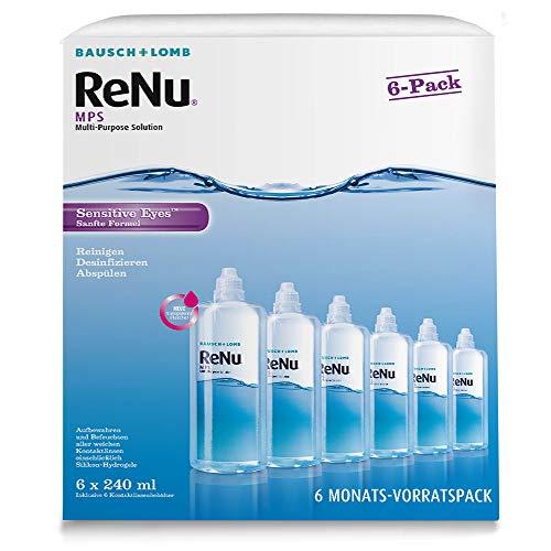 Bausch und Lomb ReNu MPS Kontaktlinsenpflegemittel weiche Linsen, 6-Monatspack, 6 x 240 ml + 6 Linsenbehälter