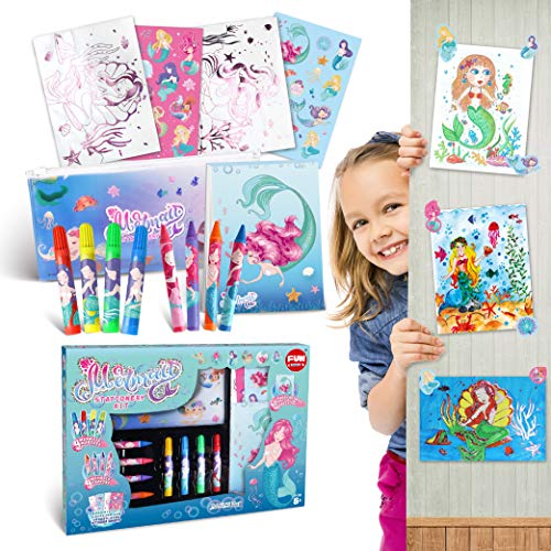 Mermaid Activity Set for Kids, FunKidz Coloring Art Kit Rainy Day Mermaid Coloring and Activities Gift Kit for Boys & Girls Birthday Party Present for Preschool Kids Ages 3 and Up