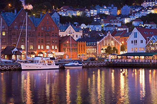 5D DIY Full Round Drill Diamond Painting Kit, Scenery of Bryggen in Bergen, Norway, Beautiful Stickers Frameless 40x50 cm