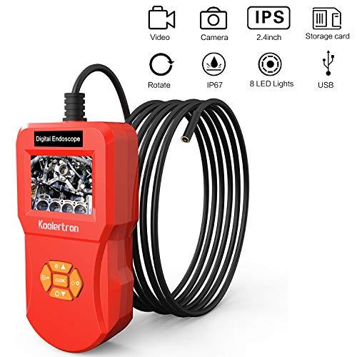 Koolertron Endoskop Autofokus, Hand Industrie-Endoskopkamera 2,4 Zoll-LCD-Bildschirm, Digitale Endoskop Inspektionskamera wasserdichter IP67 mit 8 LED Licht Video Boreskop (3M/9,8FT)
