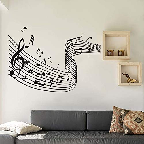 59x42cm eighth word dance musical notes wave wall stickers Music Art living room bedroom Decals removable Wallpaper house decoration mural art