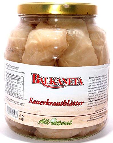Balkaneta - XXL Glas - Eingelegte Sauerkrautblätter - Kohlblätter (1350g netto)