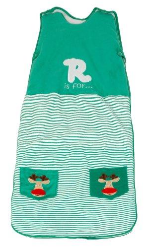 The Dream Bag GR02 Unisex Reindeer Velour Baby Schlafsack, 0-6 Monate, 2.5 Tog, 70 cm, grün-gestreift