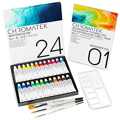 Watercolor Paint Set with Video Tutorial Series, 24 x Brilliant Colors, 18 Page Tutorial Pad, 3 Professional Brushes and Palette. Chromatek Gift Set. Start Painting and Progressing Fast.