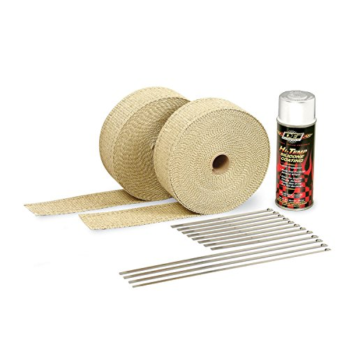 Design Engineering 010111 Exhaust / Header Wrap Kit with Hi-Temp Silicone Coating Spray - Tan Wrap / White Spray