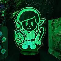 リンクの目覚め3Dイリュージョンランプキッズナイトライト任天堂ゲームキャラクターLEDセンサーライトクリスマスギフトルームの装飾-リモコン