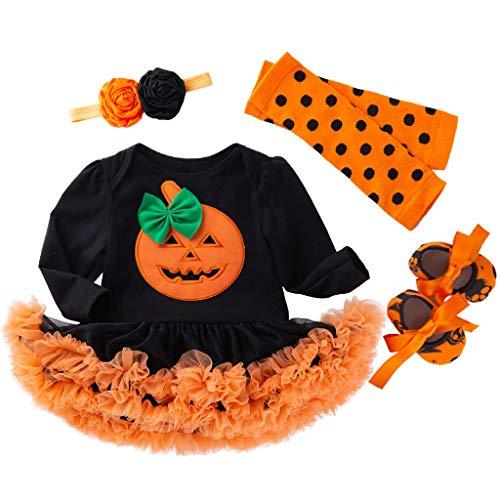 Mamum Enfant en Bas âge bébé Filles Halloween Citrouille Barboteuse Robe Bandeau Chaussures Stocking Set
