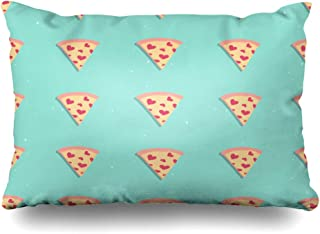 Ahawoso Throw Pillow Cover 20x26 Inches On Graphic Template Pizza Slice Love Cute Pattern Blue Hearts Textures Food Italian Perfect Drink Decorative Pillowcase Home Decor Cushion Pillow Case