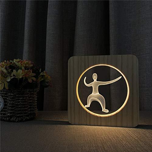 Figura de Ejercicio de Yoga lámpara de Mesa de luz Nocturna de Madera acrílica Interruptor de Control lámpara de Grabado decoración de habitación de niños Regalo