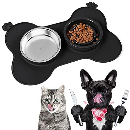 JKZJ Ciotole per Gatti Cani in Acciaio Inox, Distributore di Cibo Lento con Tappetino Silicone Antiscivolo, Ciotola Anti Ingozzamento per Cane Gatto (M)