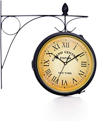 CKH Double-Sided Wall Clock Mute Movement Double-Sided Clock Vintage Retro Wall Clock