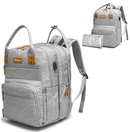 Diaper Bag Backpack, Rabjen Transformable Baby Bag, Spacious Enough for Twins' Stuff, Multifunction Maternity Travel Expandable Back Pack for Men and Women (Grey)