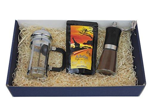 Koffiecadeauset met edele zeldzaamheidskoffie hele bonen, retro-koffiemolen en stempelkan 350 ml voor genieters in blauwe geschenkdoos