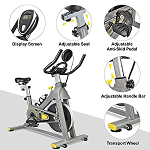 Wonder Maxi Stationary Exercise Bike with 45Lbs Flywheel - Belt Drive Indoor Cycling Bike with Ipad Holder and LCD Monitor for Home Workout, 330 Lbs Weight Capacity (Gray & Yellow)