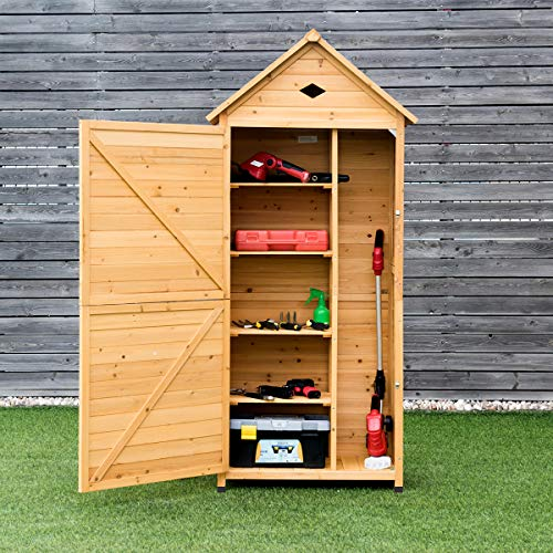 COSTWAY Wooden Garden Shed, 5 Shelves Tool Storage Cabinet with Lockable Double Doors and Slope Roof, Waterproof Utility Sheds for Outdoor Home