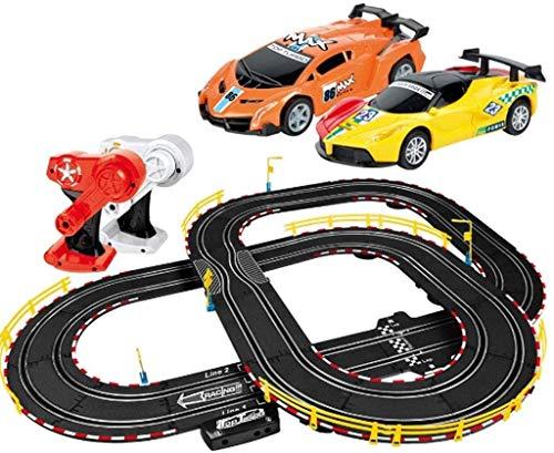 Mopoq Carril de coches de juguete de alta velocidad del coche de carril 360 ° Pista función LAP Asamblea potencia mejorada con Luz el mejor juguete Autovía de interacción entre padres e hijos