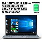 BOCCONI Ultra-Thin Laptop,15.6 inch HD 1920 x 1080 IPS Display, Intel Apollo Lake N3450 6GB RAM 256GB SSD,Windows 10 Notebook Laptop, USB 3.0, HDMI, Type-C