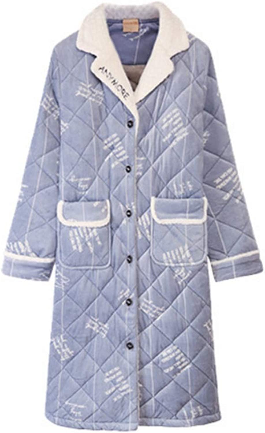NAN Liang ThreeLayer Quilted Pajamas, Ladies' Autumn and Winter Cardigans, Thick Warm Bathrobes, Home Service Gowns Soft (Size   165(L))