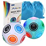 Moruska Rainbow Puzzle Ball Cube Magic Rainbow Ball Puzzle Color Shift Puzzle Ball Fidget Toy Stress Reliever Brain Teaser for Kids and Adults Set of 2