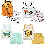 XM-Amigo Lot de 4 ensemble T-shirt sans manches et short pour garçon (6 mois - 5 ans) -  - 3-4 ans