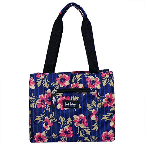 Nicole Miller of New York Insulated Lunch Cooler 11' Lunch Tote (Flower Navy)