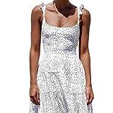 Ryyland-Home Vestido de Mujer Vestido Backless Atractivo de Las Correas de Lunares Aparador bajo la Falda del Vestido de la Playa de Las Mujeres Lady Daily Dress (Color : White, Size : L)