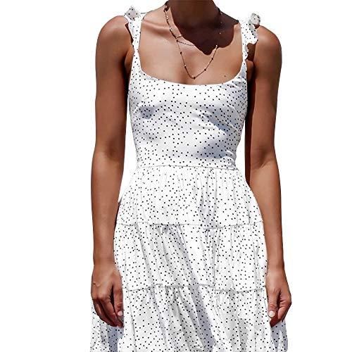 Lisansang Vestido de Manga Corta Vestido Backless Atractivo de Las Correas de Lunares Aparador bajo la Falda del Vestido de la Playa de Las Mujeres Mujer (Color : White, Size : M)