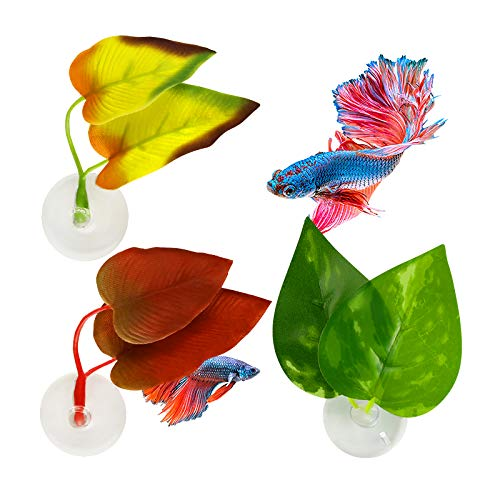 Ubrand 3 Pieces Betta Fish Leaf Silk Pad Bed,Abizoo Multicolor Double Leaves with Suction Cups Hammock for Betta Fish Plants