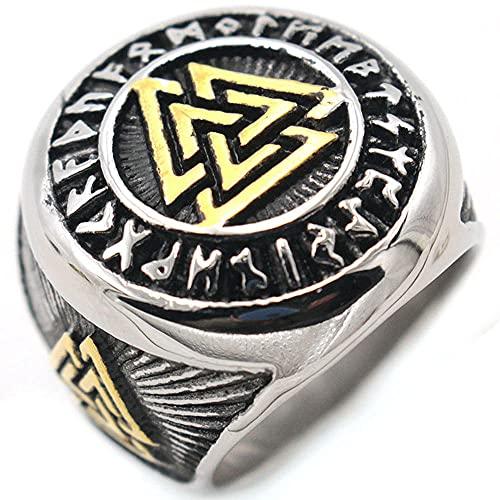 VUJK Anillo de color dorado para hombre sello vikingo anillo de acero inoxidable 316L anillos de amuleto triangular anillos de joyería de motociclista talismán nórdico 13