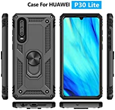for Huawei P30 Lite Metal Ring Holder Case, Impact Resistant Silicone Suppost Back Cover Case for Huawei P30 LITE Black Shell Case for Huawei Nova 4E