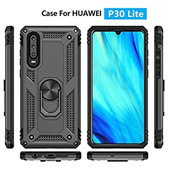 for huawei P30 Lite Metal Ring Holder Case Impact Resistant Silicone Suppost Back Cover Case P30 LITE Black Shell Case Nova 4E