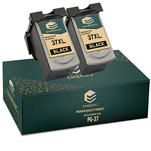 EMBRIIO 2X PG-37 Negro Cartuchos de Tinta Reemplazo para Canon Pixma MP210 MP220 MX310 MX300 MP140 MP190 MP470 iP1800 iP2600 iP2500 iP1900