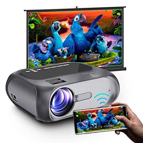 WiFi Mini Projector Full HD 1080P Supported, Verratek LumaVision Video Projector, Portable Outdoor Projector, 5000 Lumens, Support TV Stick, PC, Laptops, Phones, DVD, USB, AUX, AV