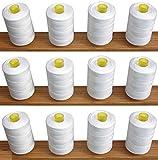 12 Weiß Nähen Overlock 100% Polyester Fäden für Nähmaschinen/Hand Nähte je 1.000 Meter – Ideal für Nähen, Quilten und vieles mehr verwenden.