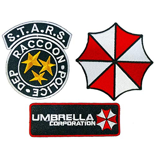 Graphic Dust Umbrella Corporation Badge Iron On Patch Logo Biohazard S.T.A.R.S. Police Star Raccoon Badge