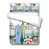 Qoqon Juego de Funda nórdica IR a Acampar con RV Tiempo de Viaje Tiempo de Playa Juego de sábanas de Estilo Simple, Cuidado Ultra Suave y fácil de 3 Piezas