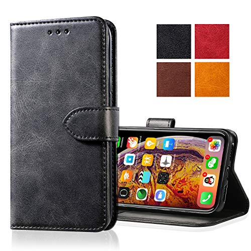 Zdream Apple iPhone 8/7 Leather Case,Leather Wallet Case [Kickstand] [Card Slots] [Magnetic Closure] Flip Notebook Cover Case for Genuine Apple iPhone 8/7 (black)
