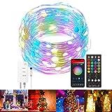Alexa Smart-Lichterkette, LED-Lichterkette, 10 m, Lichtstreifen mit App, geeignet für WLAN, Musik-Synchronisation, USB-Blinklichter, für Partys, Hochzeiten, Weihnachten, Garten, Innendekoration (5 m)