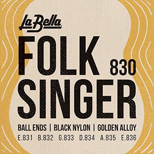 La Bella (830) String Type Folksinger Set, Black Nylon Guitar Strings - Medium Tension that Produce a Classic Sound