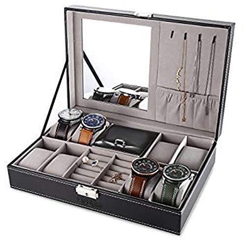 ZhenHe Staubdichtes Uhren-Aufbewahrungsbox, 8 Fächer, Quarz-Holz-Uhrenschatulle, für Herren und Damen,...