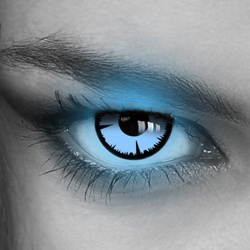 Kontaktlinsen farbig UV Neon-Target - (GRÜN,BLAU,PINK,GELB,ORANGE) - Crazy Fun Halloween Party Fasching Karneval Disco (Blau/Blue)
