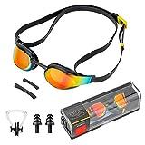 Komake Schwimmbrille, Antibeschlag Schwimmbrillen UV Schutz inkl. Nasenclip und Ohrstöpsel,Anti-Fog...