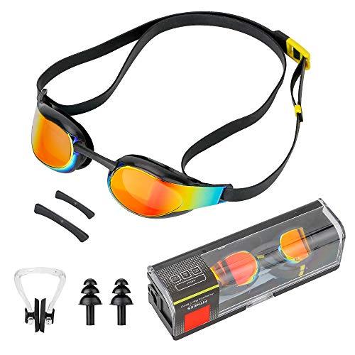 Komake Schwimmbrille, Antibeschlag Schwimmbrillen UV Schutz inkl. Nasenclip und Ohrstöpsel,Anti-Fog Taucherbrille | Verstellbar Gurt für Erwachsene Herren und Damen Jugend Kind
