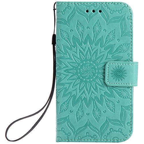 ISAKEN Compatibile con Samsung Galaxy Grand Neo Plus i9060 Custodia[PU Pelle], Libro Flip Cover Portafoglio Case Tinta Unita Caso con Supporto di Stand/Carte Slot/Magnetica - Girasole: Verde