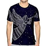 3D Printed T-Shirts Angel with Horn and Snow in Night Sky Stars Short Sleeve Tops Tees e