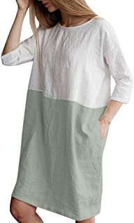 Makaor - Vestido Suelto de algodón y Lino de Media Mangas para Mujer, Estilo Casual, con Bolsillos Grandes