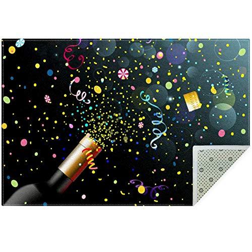 LORVIES Champagne viering gebied tapijt antislip vloermat deurmatten voor woonkamer slaapkamer 59x39 inch