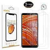 Accetel Schutzfolie Panzerglas kompatibel mit Nokia 3.1 Plus Panzerglasfolie Gehärtetem Glas Bildschirmschutzfolie für Nokia 3.1 Plus 6.0'' Zoll transparent 3-Pack
