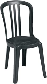 Grosfillex US495017 Miami Bistro Stacking Side Chair, Black (Case of 4)