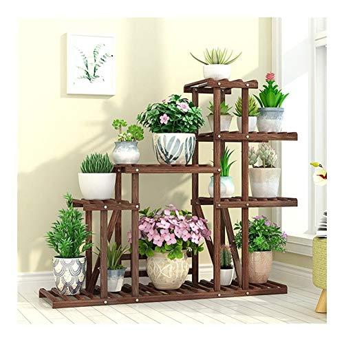Plant Stand Natuurlijke Hout Bloem Pottenhouder Rek met Hekken en Wielen voor Huis Indoor Outdoor Tuin Balkon H0317